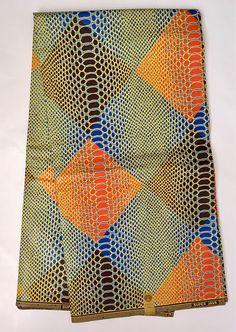 African Print Fabric/ Dutch Wax/ Ankara Blue Orange Brown