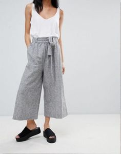 16b00f682947 Pull Bear Tailored Wide Leg Trouser With Tie Waist