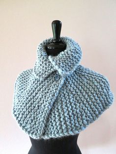 Icy Blue Color Knitted Wool Acrylic Chunky by KnitsomeStudio