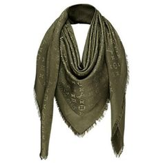 Preowned Louis Vuitton Monogram Shawl Khaki - M75698 ($395) ❤ liked on Polyvore featuring accessories, scarves, multiple, louis vuitton scarves, monogram shawl, louis vuitton, monogrammed scarves and silk shawl