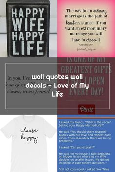 wall quotes wall decals - Love of My Life Happy Wife Quotes, Happy Marriage, Wall Quotes, Love Of My Life, Wall Decals, Great Gifts, Cards Against Humanity, Successful Marriage