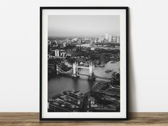 Aerial view of London Bridge black and white animal photography. Ready made to print out for any ratio. London Poster, London Art, Artwork Prints, Poster Size Prints, Large Photo Prints, White Art, Black And White, Paris Wall Art, Architectural Prints