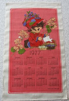1977 Calendar linen tea towel.