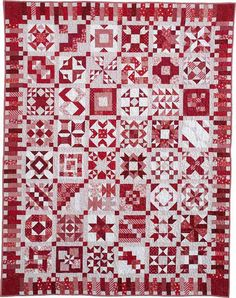 100 Blocks Sampler Quilt (Red and White). Made with blocks from Quiltmaker.  Pattern at Quilt and Sew Shop.