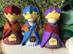 The Three Wise Men, or Magi, are dressed in their colorful robes and cloaks and jewel studded crowns. They are perfect to set out for the holidays in a special place or as part of your nature or seasonal table. These three gnomes are sold as a set. Tradition has it that the three wise men who came to seek and honor the infant Jesus were named Gaspar, Balthasar, and Melchior. On the night of Christ's birth, a mysterious light appeared in the sky which became a luminous star that persisted in…