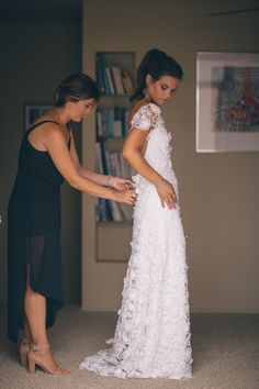 Rue De Seine bride Claire getting wore the Hannah Gown with sleeves || Available…