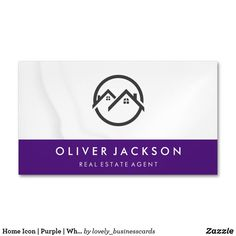 Home Icon | Purple | White Drapery Business Card Magnet
