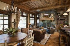 Cedarview Residence Hearth Room in Yellowstone Club, Big Sky, MT by Locati Architects & Interiors