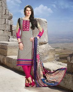 USD 46.9 Black and Cream Cotton Embroidered Churidar Salwar Kameez  35133