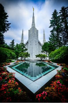 Portland Temple Reflection Pool Vertical Radiant Canvas