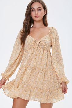 Beige Dresses, Cute Dresses, Casual Dresses, Fashion Dresses, Party Dresses, Sorority Recruitment Outfits, Floral Chiffon, Ditsy Floral, Sheer Chiffon