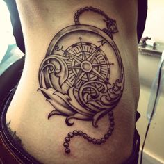 Compass tattoo; black and grey