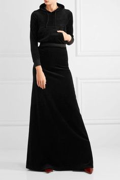 Vetements - Juicy Couture Cotton-blend Velour Maxi Skirt - Black -