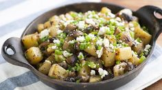 Bloggers Adam and Joanne Gallagher from Inspired Taste make a simple hash with potatoes, portabella mushrooms, blue cheese and jalapeños.