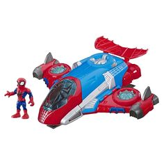 Soar into action with the Marvel Super Hero Adventures Spider-Man jetquarters! Kids ages 3 and up can take their imaginations to new heights as they pretend to fly into battle alongside their favorite web-slinging Marvel Super Hero!