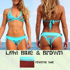Our swimwear keeps up with you no matter what sport you like to do. Our bikinis are reversible and aside form looking good they provide comfort and functionality.  HERMOSA is our triangle top, which ties on the neck and back stretching to fit comfortably, providing support while you exercise and play in the water.  SALSA BRAVA bottoms have a cut that is perfect for a good tan, sexy but not too revealing, it has slightly more coverage than a Brazilian cut that is because it is a Costa Rican…
