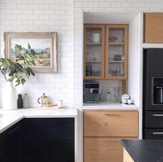 Introducing, 10 Black Kitchen Cabinet Ideas That Are Oh-So-Decadent Dark Wood Kitchen Cabinets, Black Kitchen Island, Dark Wood Kitchens, Oak Cabinets, Painting Kitchen Cabinets, Black Kitchens, Classic White Kitchen, All White Kitchen, Cast Iron Kitchen Sinks