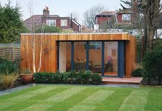 Garden, Modern Shed In Backyard Retreat Garden Green Lawn Relaxing Environtment: Fascinating Home Garden Design to Give a Fresh Environment on Your Home Outdoor Office, Backyard Office, Backyard Studio, Garden Office, Outdoor Rooms, Modern Backyard, Backyard Retreat, Garden Pods, Garden Cabins