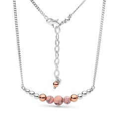 Sterling silver, 14kt rose gold fill and pink howlite necklace.