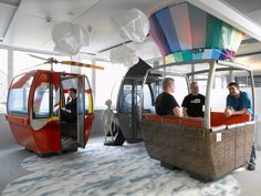 Hot Air Balloon Gondola - Real Swiss ski gondolas converted into creative phone booth for the amazing Google Zurich offices