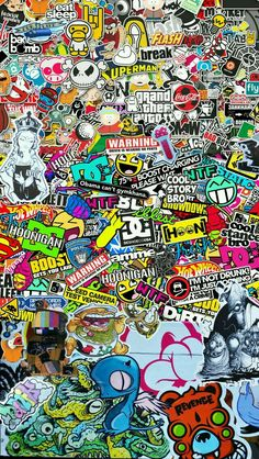 STICKER BOMB Wallpaper for iPhone 6 - Some people look at content – others make it. We love to do both. Ask me to make one OR just steal this one. Sticker Bomb Wallpaper, Graffiti Wallpaper Iphone, Hype Wallpaper, Trippy Wallpaper, Iphone 6 Wallpaper, Galaxy Wallpaper, Screen Wallpaper, Cartoon Wallpaper, Cool Wallpaper