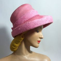 Preppy Pink Wool and Sisal Bow Trimmed Wide Brim Hat circa 1960s - Dorothea's Closet Vintage