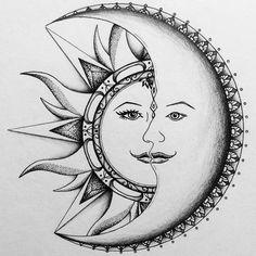 Sun/moon tattoo commission Nelson Burton