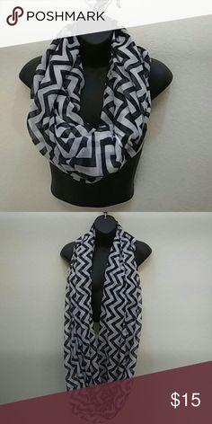 Chevron Infinity Scarf.  Black & White Very long Black and White Chevron. Infinity Scarf.  100% Viscose... Sparkly Carly Accessories Scarves & Wraps