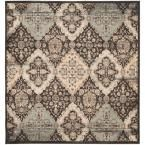 Vintage Black/Light Blue 6 ft. 7 in. x 6 ft. 7 in. Square Area Rug
