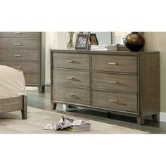 Furniture Of America Enrico I Gray Finish Wooden Bedroom Dresser With 6 Drawers Small Kitchen Furniture, Small Bedroom Furniture, Wooden Bedroom, Bedroom Dressers, Cheap Furniture, America Furniture, Basement Bedrooms, Beautiful Homes, Drawers
