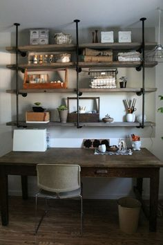 Table for desk with shelves above? DIY Industrial Iron & Wood Shelves ~ Great Tutorial via SylvieLiv: Before & After: Craft Room Industrial Shelving, Industrial House, Industrial Chic, White Industrial, Industrial Bedroom, Industrial Industry, Industrial Irons, Industrial Bookshelf, Industrial Windows