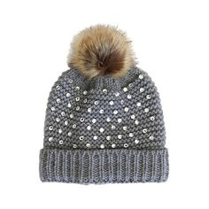 Beanies DoEverythinginLove Grey, Women's ($17) ❤ liked on Polyvore featuring accessories, hats, grey, pom beanie, beanie cap, pom pom hat, beanie cap hat and rhinestone hats
