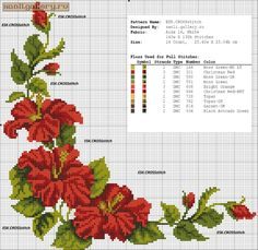 55 Flower Graphics in Cross Stitch Gr Cross Stitch Boarders, Cross Stitch Rose, Cross Stitch Flowers, Cross Stitch Designs, Cross Stitching, Cross Stitch Embroidery, Hand Embroidery, Cross Stitch Patterns, Free To Use Images