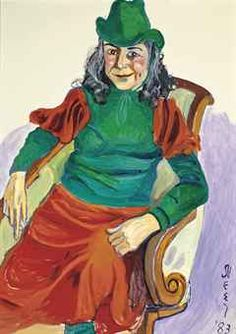 "Alice Neel (US 1900-1984), Vivien Leone, o/c, 1983. Leone was a writer and feminist thinker who had known the artist for a number of years. The striking vivid green hat appealed to both artist and sitter (Leone's father had been a hatter). For Leone the hat was symbolic of a stage in her life when she felt many mature women had become invisible to society: ""As an older woman, you become 'missable,' and people tend not to see you,"" she said, ""but a hat puts you back in the picture."" Sold…"