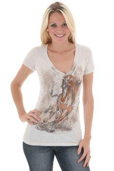 Women's Wrangler Bronze Foil Horse T-Shirt