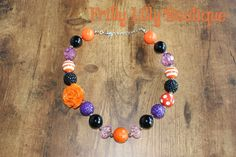 Orange flower bubble necklace