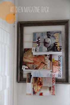 Repurpose a picture frame into a magazine display that shows off those inspiring covers. Emily at Tar-Tryin' inserted six dowel rods into an old wooden frame to create a wall-hung rack in her kitchen for easy access to the latest issues of her food mags. Get the tutorial at Tar-Tryin'.