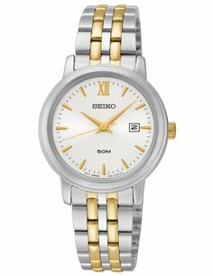 Seiko SUR815 Women's Watch Silver-Tone Dial Two-Tone Stainless Steel Band With Date