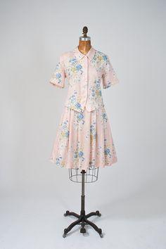 Ladies Sz M/L Gorgeous Pink Floral Vintage Dress Set/80s Blouse & Skirt w/pastel flowers $38 #Fashion