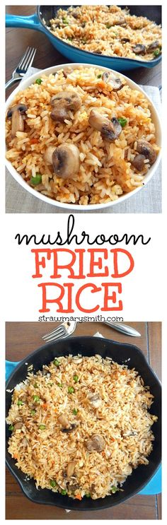~ Living a Beautiful Life ~ Mushroom Fried Rice is a weeknight skillet meal for two that's ready in just 20 minutes, and it's gluten free! Rice Recipes, Veggie Recipes, Asian Recipes, Vegetarian Recipes, Cooking Recipes, Healthy Recipes, Vegan Soups, Chinese Recipes, Cooking Ideas