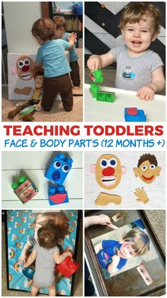 Teaching Toddlers: Face and body Parts 12 Months + Toddler Learning Activities, Infant Activities, Kids Learning, Activities For Kids, Teaching A Toddler, Body Parts Preschool Activities, Activities For One Year Olds, Teaching Babies, Toddler Play