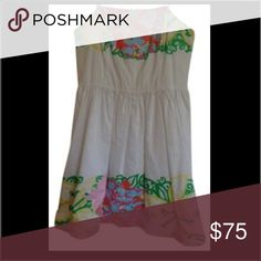 Lily Pulitzer strapless dress Lily Pulitzer white strapless dress, white doodlebug daisy print, perfect for any occasion, only worn once Lilly Pulitzer Dresses Midi