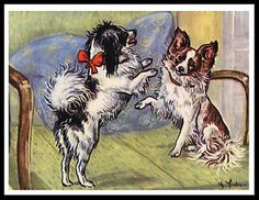 PAPILLON-TWO-LITTLE-DOGS-CHARMING-VINTAGE-STYLE-DOG-PRINT-POSTER