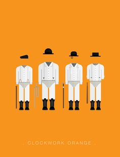 A Clockwork Orange (1971) ~ Minimal Movie Poster by Frederico Birchal ~ Costume Series #amusementphile