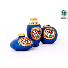 Name : Blue Terracotta Warli Hand painted Miniature Pots : Set Of 3 Price : Rs 499/- Buy Now at : http://www.indikala.com/blue-terracotta-warli-hand-painted-miniature-pots-set-of-3.html
