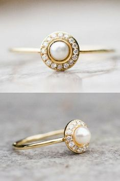 6d389d392 Beautiful White Pearl and Diamond Wedding Ring | Engagement Ring |  Alternative Wedding | Jewelry