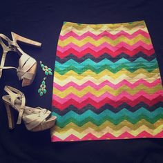 Custom Made Skirt Colorful Chevron You will be the hottest and best dressed wherever you go! This was custom made so there is no size but it fits like a small or medium. Measurements are 19.5 inches long and 14.75 inches across measured laying flat. Dry clean only. Has built in slip. No flaws that I see, great condition. Sevier Skirts Skirts Midi