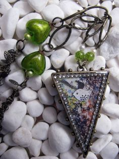 Multicolored Triangle Pendant Necklace by MaggieMarieCreations, $26.00