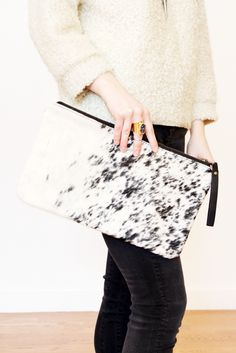 Salt + Pepper Cowhide Clutch on www.mooreaseal.com