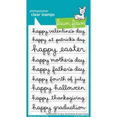 Lawn Fawn NEW 2019 Clear Stamps Set WAVY SAYINGS Sentiments  LF1899